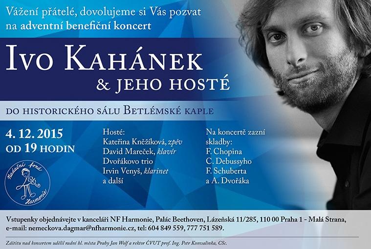 Adventní benefiční koncert IVO KAHÁNEK A JEHO HOSTÉ podpoří hudební vzdělání dětí