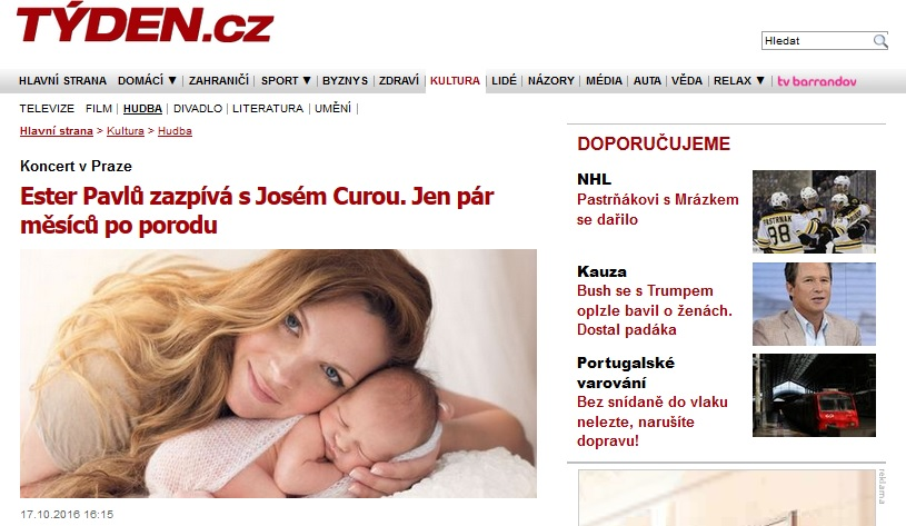 Mezzosoprano Ester Pavlů sings with José Cura. Just few months after giving birth to her baby boy