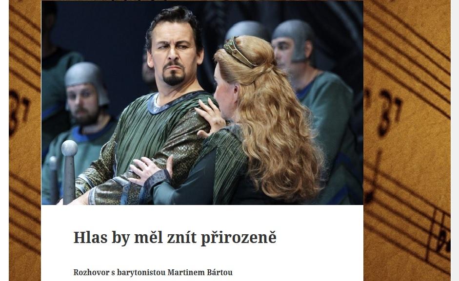 Hudební rozhledy: Rozhovor s barytonistou Martinem Bártou